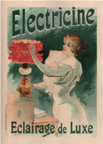 Vintage Electricine Eclairage de Luxe French Advertising Poster.